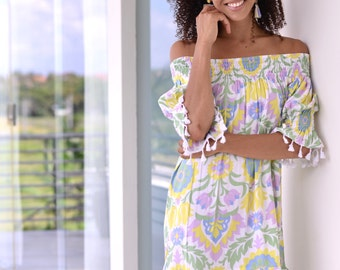 Mimi Tassel Dress - Lotus Flower - Off Shoulder Dress - Code: KH006 (A)