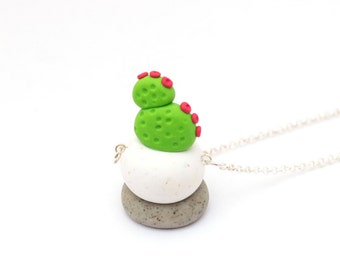 Handmade Cactus Polymer Clay Jewelry Necklace: Succulent in Dotty Cactii