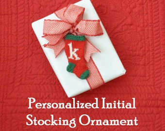 Initial Hand Knit Christmas Stocking Ornament   Personalized Ornament