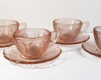 Pink Depression Glass - Jeannette Pink Cherry Blossom Cup and Saucer Set