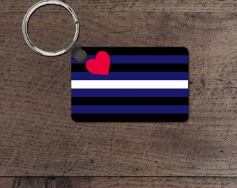 Leather Pride flag key chain