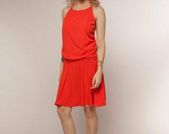 EASTER GIFTS, Orange Dress, Open Back Dress, Sleeveless Dress, Flare Dress, Mini Dress, Casual Dress, Short Dress, For Her, Wife Gift