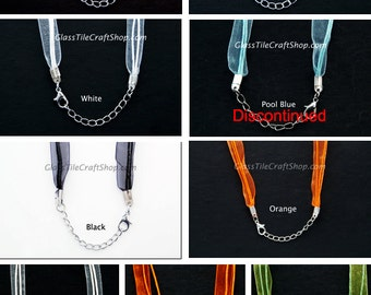 Organza Necklace Cord (10 Pack) - 17 Inch with 2 inch Extension Chain