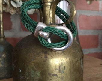 Rustic Green Braided Leather Buckle Cuff Bracelet