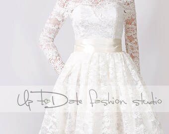 Lace Short/ Off-Shoulder /Custom Made / wedding / reception dress / 3/4 Sleeves/ Bridal Gown