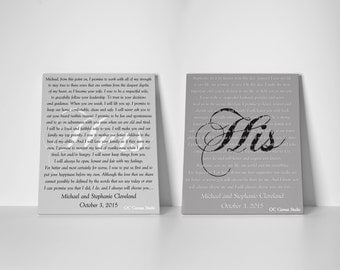 Wedding vow canvas HIS and Hers vows custom canvas print Set of 2 same size wedding vows Wedding vows gift OC Canvas Studio