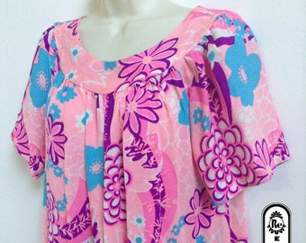 Vintage Lingerie 1960'S  House Lounge Dress Moo Moo with Large Floral Print Colors Pink Purple Blue White No. 42