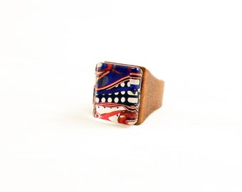 Lines and Dots Graphic Metal Adjustable Ring in Vintage Copper Finish