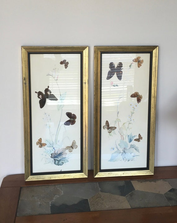 1930s paintings set of 2 natural butterflies and hand painted flowers