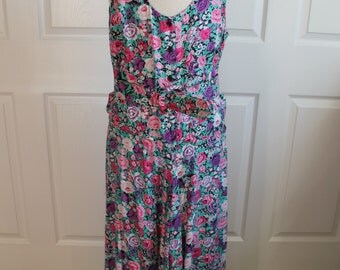 90's Floral Print Dress with Belt By S. Roberts