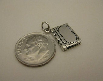 925 Sterling Silver Hard Cover Book Charm, Perfect! Boxed!