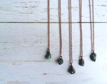 Emerald Birthstone necklace | Raw emerald necklace | May birthstone jewelry | Rough emerald crystal necklace | Genuine emerald jewelry