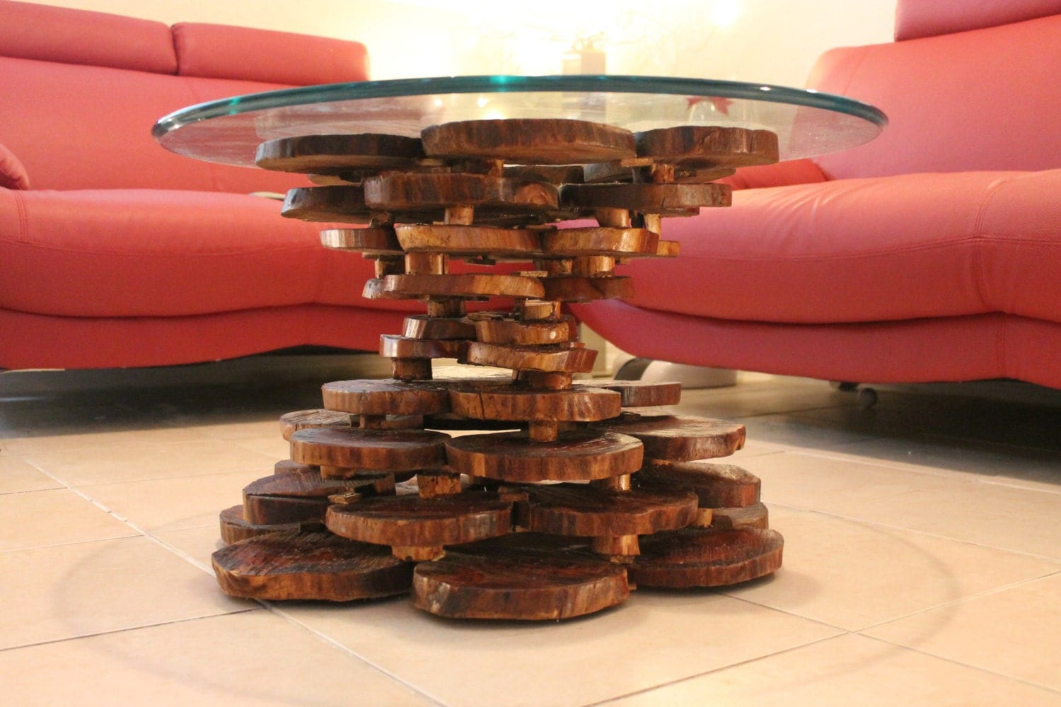 Tree Trunk Stack Coffee Table Glass By Woodmajestic On Etsy