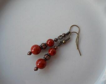 Red Jasper Earrings / Root Chakra Jewelry / Yoga Jewelry / Red Jasper Beaded Earrings with Copper Accents ~GROUNDING~