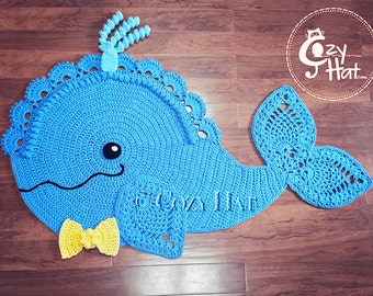 READY TO SHIP! Whale Rug. Hand Crocheted. Sale!