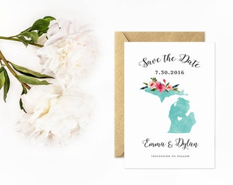 Michigan Save The Date, Watercolor State Wedding, Hand Painted Flowers, State Love