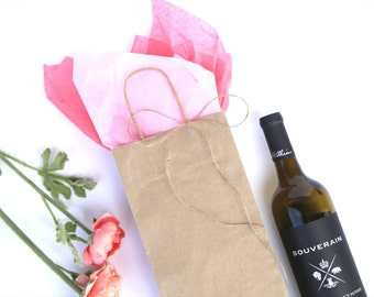50 Wine Bottle Gift Bags with Twisted Handles-  Kraft Brown Paper Bag