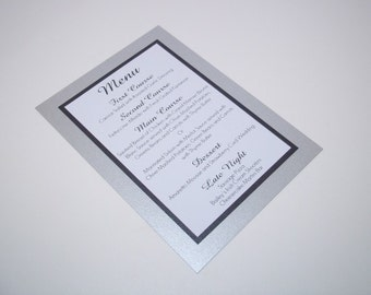 Elegant Shimmer Silver, Black and White Menu Card  - Wedding - Dinner - Party - Birthday Menus 5x7 Size