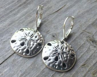 Tibetan Silver Sand Dollar Earrings With Lever Backs