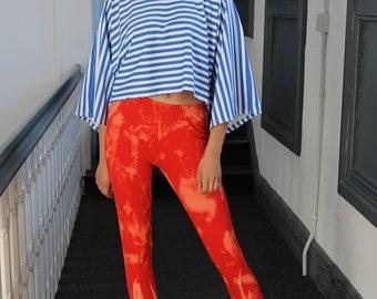 Alternative Punk Bright Orange Tie-Dyed Leggings