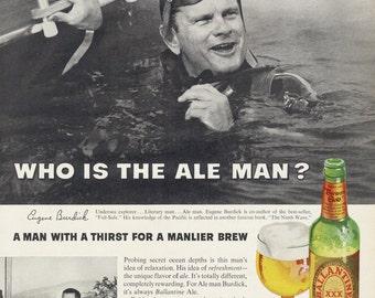 1963 Ballantine Ale Beer Ad Scuba Diver Man Photo Vintage Advertising Print Bar / Man Cave Wall Art Decor