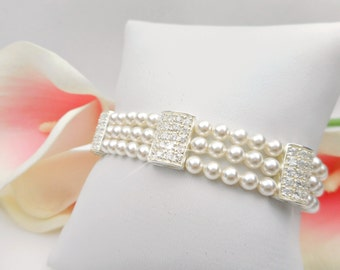 3 Strand Swarovski Pearl And Cubic Zirconia Bridal Bracelet Sterling Cubic Zirconia And Pearl Bridal Bracelet FREE US Shipping