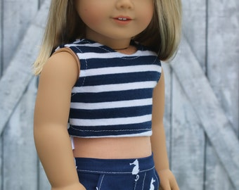Navy Blue White Stripe CROP TANK TOP 18 Inch Dolls such as American Girl Doll Clothes