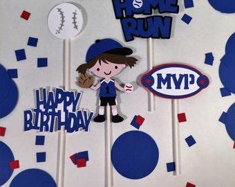 Softball theme birthday cupcake toppers, Softball decorations, softball cake topper, softball theme party,softball theme,softball,10pc