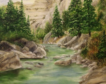 Creek, River Landscape; Original Oil Painting 14in x 18in
