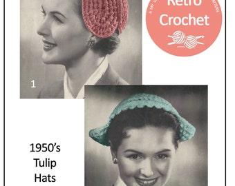 1950s Tulip Hats Vintage Crochet Pattern - PDF Instant Download