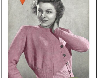 1940's Classic Stocking Stitch Twinset Knitting Pattern  - PDF Instant Download - PDF Knitting Pattern