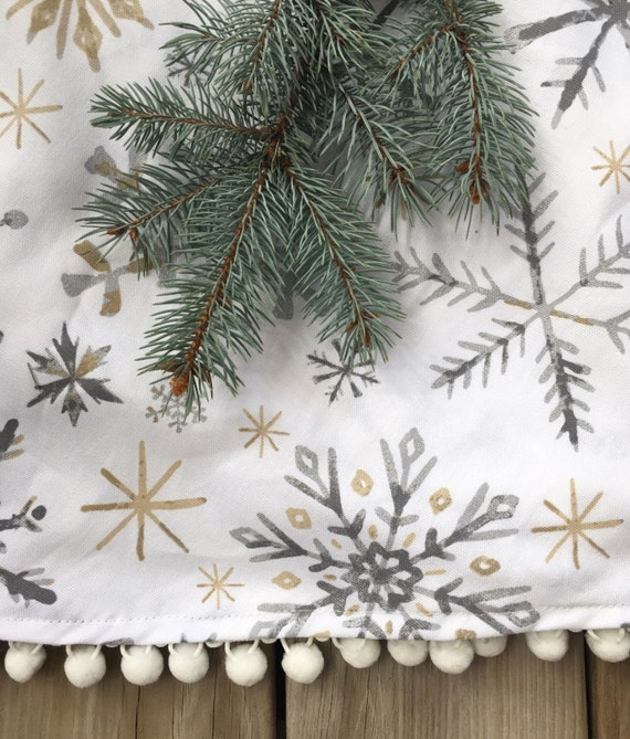 White tree skirt metallic gold silver bears santa