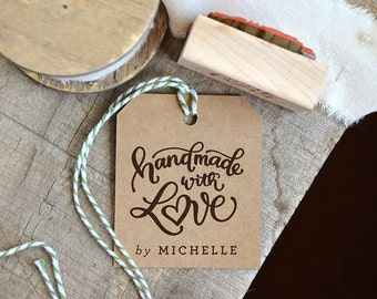 Handmade with Love Rubber Stamp, Handmade by Stamp, Personalized Name Stamp, Custom Stamp, Personalized Shop Stamp, Made with Love Stamp