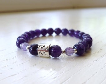 Aquarius Bracelet, Aquarius Zodiac Bracelet, Amethyst, Aquarius Jewelry, Aquarius Jewellery, Sterling Silver Aquarius Bead, Zodiac Jewelry