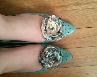 Handmade Fabric Flower shoe clips