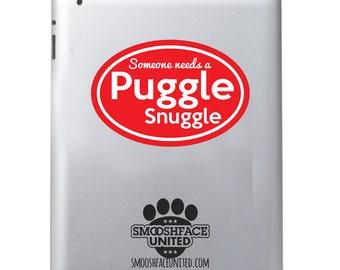 Puggle decal - 'Snuggle a Puggle' sticker- Pug Beagle mix dog breed vinyl decal - puggle dog breed gift