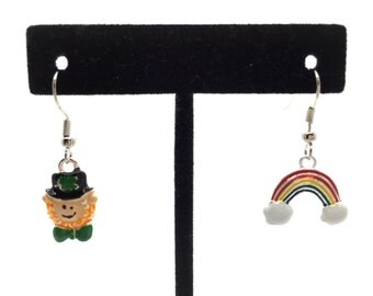 Lucky Leprechaun and Rainbow Handmade Dangle Earrings for St. Patrick's Day.  A Jewelry Gift Box is Included!