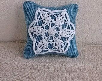 Sewing pin cushion Crochet lace pincushion Denim pincushions Needle bed Needles pins keeper Crocheted detail pillow Crochet motif Style gift