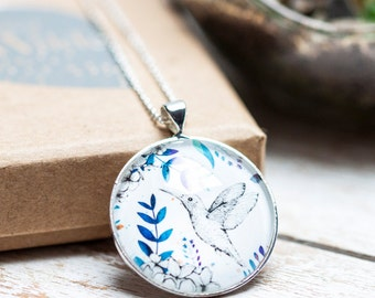 Hummingbird Blossom Silver Necklace And Glass Pendant