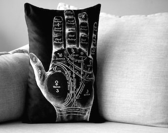 "palmistry // fortune telling by hand readings - 14"" x 20"" velveteen pillow case - vintage chart"