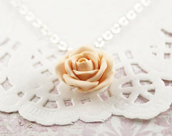 Dainty Rose Necklace, Pale Peach Clay Flower, Feminine Jewelry, Flower Necklace, Swedish design, Bridesmaids gift