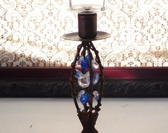 Copper Beaded Candle Holder Blue Copper Tall Candle Holder Vintage