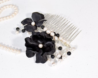 Black and White Pearls Hair Comb - Swarovski Pearl Bridal Comb - Bridal Hair Piece - Wedding Hair Accessories