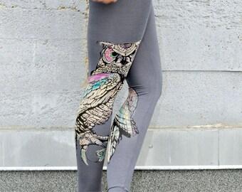 Dark Grey Leggings, Mystic Owl Print, High Waisted Leggings, Bamboo Leggings, Bamboo Jersey Tights, Hand Painted Leggings, Printed Tights