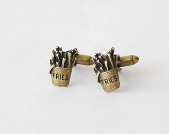 Fries Cufflinks, Fries Gifts, French Fries, Fries Jewelry, Junk Food Cufflinks, French Fries Cufflinks, Gifts for Men, Food Cufflinks, Men