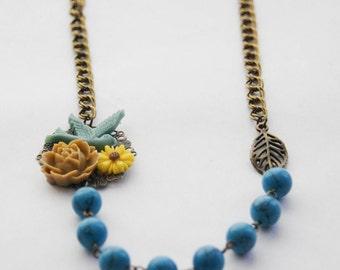 Blue Bird Necklace, Asymmetrical Flower Necklace, Blue Beaded Necklace, Rose Statement Necklace, Rustic Wedding Necklace, Bridesmaid Gift
