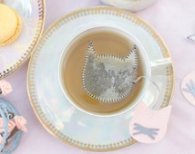 Cat shaped tea bags - Cat lover - Tea time - Grey - Silver -  Pink - Glitter - Sparkle