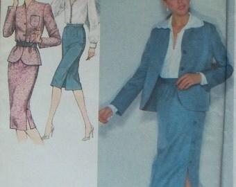 Misses' Suit Pattern ~ Size 12 ~ Unlined Jacket, Skirt, Blouse, ~ Simplicity 9424 Uncut ~ Vintage 1980