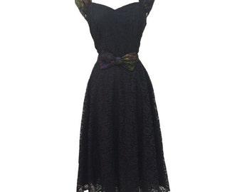 1980s black lace vintage evening gown