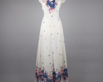 1970s floaty vintage white floral maxi dress